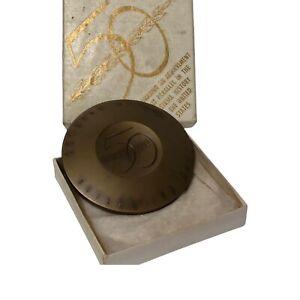 "Vintage GM General Motors 50 Million Cars Bronze Paperweight 1954 3"" W Box"