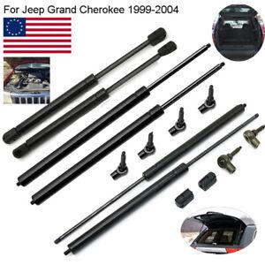 6Pcs Bonnet + Rear Window + Rear Door Gas Struts For Jeep Grand Cherokee 1999-04