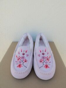 UGG PINK ANSLEY BLOSSOM SUEDE/ SHEEP WOOL MOCCASIN SLIPPERS, US 10/ EUR 41 ~NEW