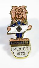 Gold Tone Screw Back Pin with Lions Tennessee, Mexico 1972, and Blue Stone