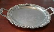 Large Ornate Ranleigh Vintage Butlers Silver Plate Serving Tray Rare