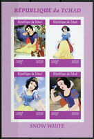 Chad 2019 MNH Snow White 4v IMPF M/S Disney Cartoons Animation Stamps