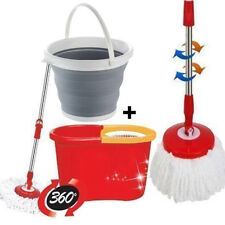 360 DEGREE SPINNING MOP BUCKET HOME CLEANING 2 MOP HEADS WITH COLLAPSIBLE BUCKET
