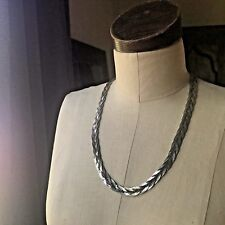 Vintage Herringbone Necklace Silvertone