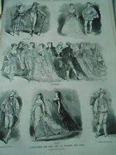 Gravure 1868 - Costumes de Bal Noce Watteau Etoiles Louis XV