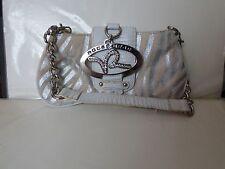 1999+ Rocawear Small Baguette Handbag Evening Purse Faux Fur Silver Rhinestones