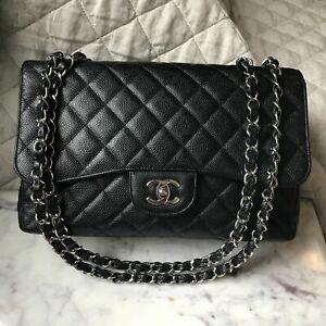 ****Chanel Jumbo Single Flap Bag in Caviar Black Silver Hardware SHW **