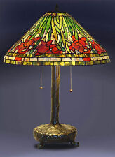 "Tiffany Style Stained Glass Daffodil Table Lamp 18"" Shade New"