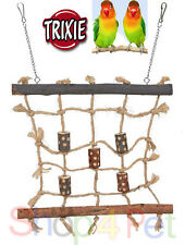 PET BIRD TOY CLIMBING ROPE WALL FOR CAGE + CHAIN - BUDGIE CANARY or SMALL BIRDS