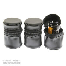 3 x 35mm Film Storage Pouches. Vinyl w/Zips & Belt Loops. Cassette Tubs Canister