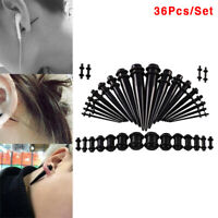 36Pcs Acrylic Ear Gauge Stretching Kit Tapers Flesh Tunnels Plug Body Pierc`IR