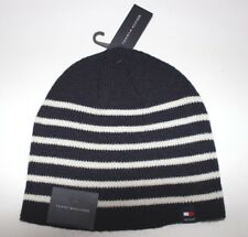 NWT TOMMY HILFIGER One Size Men s Navy   White Striped Knit Winter Skull Cap  Hat b140ebefdb7f