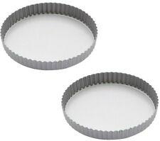2 x Kitchen Craft 24.5cm / 9 Inch Non Stick Fluted Loose Bottom Quiche Tart Tin