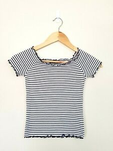 GLASSONS Womens Navy & White Stripe Skinny Short Sleeve Crop Top Size M