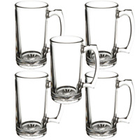 Beer Mug with Handle 26 oz - 5 PACK - Jumbo, Heavy, Drinking Glass, Sports, Bar
