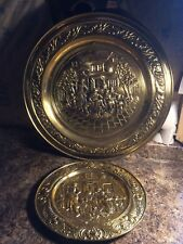 Lot of 2 Vintage Lombard England Brass Peerage Wall Hanging Plates