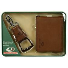 Mossy Oak Faux Leather Wallet & Keychain Bottle Opener Gift Set - Brown Color