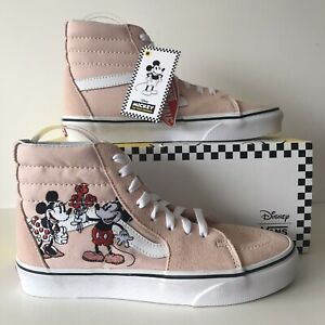Vans Sk8-hi Disney Size 5 Suede Pink Mickey Minnie Trainers New With OG Box
