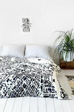 Urban Outfitter DENY City Fabric LA Duvet Cover Full Queen White Black New 1985