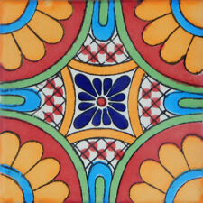 "Handmade Mexican Tile Sample  Talavera Clay 4"" x 4"" Tile C187"