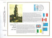 FEUILLET PHILATELIQUE SUR LES BATAILLES DE LA SOMME 1916-1976