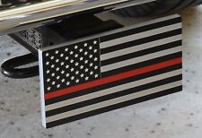 Thin Red Line American Flag Aluminum Trailer Hitch Cover
