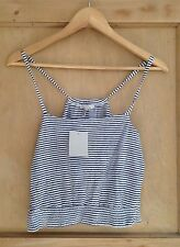 Cotton Blend Cropped No Striped Tops & Shirts for Women