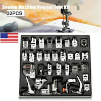 32pcs Metal Domestic Sewing Machine Presser Feet Set for Brother Singer Janome