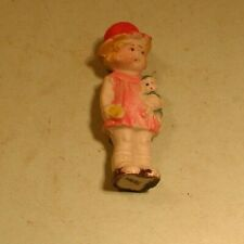 1940's Small Molded Bisque Doll Holding Doll & Red Hat - Japan