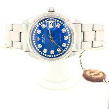 🔥$11,900 ROLEX OYSTER PERPETUAL DATE MEN'S DIAMOND BLUE DIAL WATCH BOX 18K GOLD