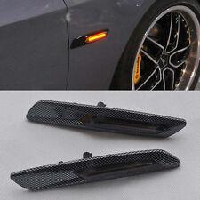 2x F10 style Carbon Trim LED Side marker Turn light signal smoke For BMW E90 E91