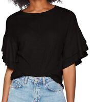 New Look Women's Double Ruffle T-Shirt Black SIZE UK10 EU38