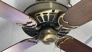 """Vintage Casablanca Delta 50"""" Ceiling Fan in Antique Brass w/ Walnut Blades"""