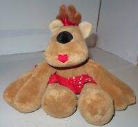 "Hallmark Rhonda Reindeer Plush Stuffed Toy w/ Red Apron 16"" Wide Flat Girl Deer"