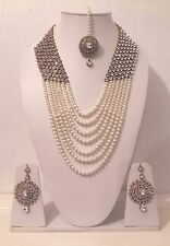 New Indian Costume Jewellery Necklace Set with Earrings and Tikka - Gold Tone