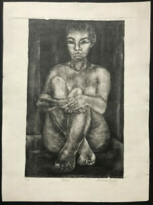 MEXICAN MODERN Lithograph ~ SEATED GIRL ~ Hand Signed EDELMIRA LOSILLA c1950