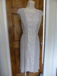 Pretty grey chiffon lace detail dress from Laura Ashley size 10