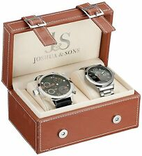 NEW Joshua & Sons JS84-1 Mens Analog 2-Watch Set Stainless Steel Black Dial Band