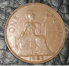 1963 Vintage Old Style British QE II Britannia Penny Coin (1 Pence). COLLECTABLE