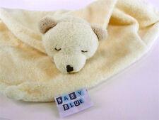 BABY BLUE Bear Yellow Tan Lovey Blanket Baby Security Nunu Snuggle