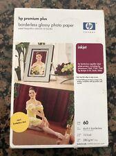 """HP Premium Plus Borderless 4x6"""" Photo Paper Glossy Inkjet 60 Ct New Sealed"""