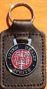 Austin Healey Sprite Keyring Key Ring - badge mounted on a leather fob