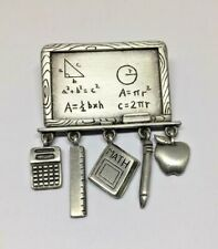 Vintage Signed JJ Jonette Silver Tone Math Teachers Chalkboard Charms Brooch Pin