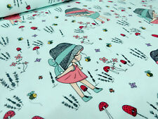 Stoffrest 17x150cm Baumwolle Jersey Mädchenstoff Blumen Pilze türkis Kinderstoff