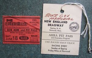 2 drag race ticket stubs 1970's 80's New England Dragway Spring nationals