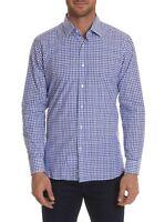 Robert Graham Gianmarco L/S Gingham Print Sport Shirt, Blue