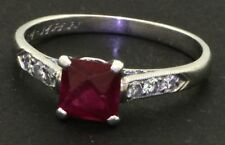 Art Deco Plat. 1.12CT diamond wedding ring semimount w/ glass filled ruby sz 5