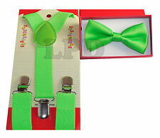 GREEN Children Suspenders And BowTie Set CUTE COLORS KIDS Suspenders And Bow Tie