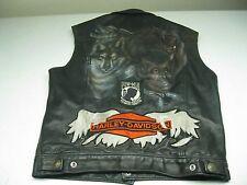 Vintage Black Buffalo Nickle Button Natal Distressed Motorcycle Vest Size M