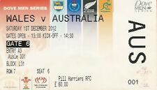 Wales v Australia 1 Dec 2012 RUGBY TICKET